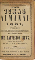 Books:Americana & American History, The Texas Almanac for 1861 With Statistics, Historical andBiographical Sketches &c., Relating to Texas. Galveston:Rich...