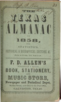 Books:Americana & American History, The Texas Almanac for 1858 With Statistics, Historical andBiographical Sketches &c., Relating to Texas. Galveston:Rich...