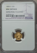 Gold Dollars, 1850-C G$1 -- Improperly Cleaned -- NGC Details. Unc. Variety 1....