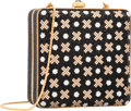 """Luxury Accessories:Bags, Judith Leiber Full Bead Black & Gold Crystal RectangularMinaudiere Evening Bag. Excellent Condition. 4"""" Width x4"""" He..."""