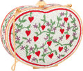 """Luxury Accessories:Bags, Judith Leiber Full Bead Silver & Red Crystal Heart MinaudiereEvening Bag. Excellent Condition. 5.25"""" Width x 4""""Heigh..."""