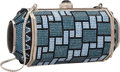 """Luxury Accessories:Bags, Judith Leiber Full Bead Black & Blue Crystal Capsule MinaudiereEvening Bag. Excellent Condition. 6"""" Width x 3""""Height..."""