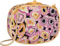 """Luxury Accessories:Bags, Judith Leiber Full Bead Pink & Yellow Crystal Floral MinaudiereEvening Bag. Excellent Condition. 5"""" Width x 4""""Height..."""