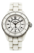 Estate Jewelry:Watches, Chanel Lady's White Ceramic, Stainless Steel J12 Watch. ...