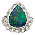 Estate Jewelry:Rings, Black Opal, Diamond, Platinum Ring, Ayres. ...