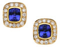 Estate Jewelry:Earrings, Tanzanite, Diamond, Gold Earrings. ... (Total: 2 Items)