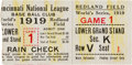 Baseball Collectibles:Others, 1919 World Series Game One Ticket Stub. ...