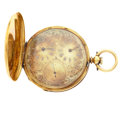Timepieces:Pocket (pre 1900) , Swiss 18k Gold Fancy Dial Captain's Pocket Watch. ...