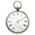 Timepieces:Pocket (pre 1900) , Swiss Sterling Silver Lever Fusee Pocket Watch. ...