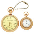 Timepieces:Pocket (post 1900), . Elgin & Waltham Open Face Pocket Watches. ... (Total: 2 Items)