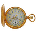 Timepieces:Pocket (pre 1900) , Rare Columbus Fancy Dial With Unusual Hunter's Case Pocket Watch....