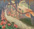 Fine Art - Painting, American:Modern  (1900 1949)  , Jessie Arms Botke (American, 1883-1971). Peacock and Cockatoo ina Garden Landscape, 1927. Oil on canvas laid on panel. ...