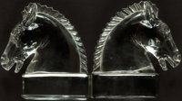 [Bookends]. Pair of Matching Solid Glass Bookends Depicting Horse Heads. [Heisey, Circa 1946]