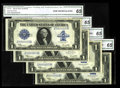 Large Size:Silver Certificates, Fr. 237 $1 1923 Silver Certificate CGA Gem Uncirculated 65. This fascinating cut sheet features the serial numbers Z99999937...