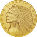 Proof Indian Half Eagles: , 1909 $5 PR67 NGC. This auction contains three proof gold coins that should not be. A 1909 half eagle, a 1910 quarter eagle,...