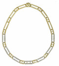 Estate Jewelry:Necklaces, Diamond, Gold Necklace. The necklace features links embellished by full-cut diamonds, alternating with brightly polished l...