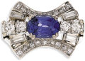 Estate Jewelry:Rings, Sapphire, Diamond, Platinum Ring. The ring centers an oval-shapedsapphire measuring 7.90 x 5.85 x 4.20 mm and weighing ap...