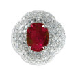 Estate Jewelry:Rings, Ruby, Diamond, Platinum Ring, David Webb. The ring of bombe form,is highlighted by an oval-shaped ruby measuring 14.12 x ...