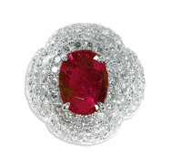 Ruby, Diamond, Platinum Ring, David Webb  The ring of bombe form, is highlighted by an oval-shaped ruby measuring 14.12...