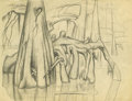Texas:Early Texas Art - Drawings & Prints, Otis Dozier (1904-1987) Cypress Knees Pencil 8 1/2 x 11in.Inscribed verso: Caddo Lake East Texas 1934 Stamped lowe...