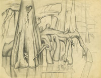 Otis Dozier (1904-1987) Cypress Knees Pencil 8 1/2 x 11in. Inscribed verso: Caddo Lake East Texas 1934 Stamped lowe