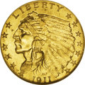 Indian Quarter Eagles: , 1911-D $2 1/2 MS61 NGC. This key date Indian quarter eagle has radiant tawny-gold luster, and the strike is bold throughout...