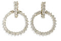 Estate Jewelry:Earrings, Diamond, White Gold Earrings. Each doorknocker style earringfeatures full-cut diamonds, set in 14k white gold. Total diam...(Total: 2 Pieces)