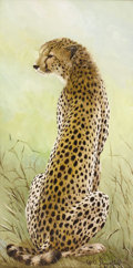 Texas:Early Texas Art - Impressionists, WILLIAM SLAUGHTER (1923-2003). Cheetah. Oil on canvas. 30in.x 15in.. Signed lower right. An amazing life-like renditi...