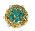 Estate Jewelry:Rings, Emerald, Diamond, Gold Ring. The ring, of bombe form, featuresround-cut emeralds weighing a total of approximately 1.90 c...