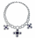 Estate Jewelry:Necklaces, Diamond, Sapphire, Platinum Necklace, Chanel. The heavy link necklace suspends three stylized knot motifs, each featuring ...