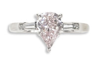 Colored Diamond, Diamond, Platinum, Ring, Tiffany & Co.  The ring features a pear-shaped pink diamond measuring 8.96...
