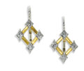 Estate Jewelry:Earrings, Diamond, Platinum, Gold Earrings, Cathy Waterman. Each earring iscomprised of five diamond-shaped forms; four featuring f...