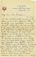Basketball Collectibles:Others, 1918 James Naismith Handwritten Signed Letter with Signed Envelope.. Date: May 30, 1918.. Location: France.. Length in...