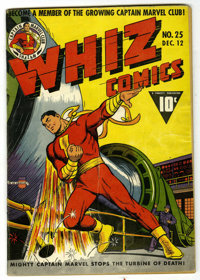 Whiz Comics #25 (Fawcett, 1941) Condition: Apparent VG. This key issue contains the origin and first appearance of Capta...