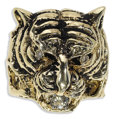Estate Jewelry:Rings, Diamond, Gold Ring. The ring, designed as a three dimensional tigerhead, features full-cut diamonds weighing a total of a...