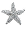 Estate Jewelry:Brooches - Pins, Diamond, White Gold Brooch. The brooch, designed as a starfish,features full-cut diamonds weighing a total of 2.82 carats...