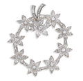 Estate Jewelry:Brooches - Pins, Diamond, Platinum Brooch. The circle brooch is designed as a floralwreath, featuring full, marquise and baguette-cut diam...