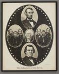 """Military & Patriotic:Civil War, Lithograph, The Defenders of Our Union, (New York: Kimmel & Forster, ca. 1865), framed to 19"""" x 24"""". This very late war patr..."""