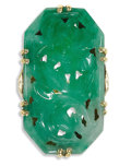 Estate Jewelry:Rings, Art Deco Jadeite, Gold Ring. The ring centers a cut-cornered, carved and pierced jade tablet with a floral and foliate the...