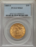 Liberty Eagles: , 1885-S $10 MS62 PCGS. PCGS Population (265/108). NGC Census: (231/62). Mintage: 228,000. Numismedia Wsl. Price for problem ...