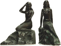 [Bookends]. Pair of Matching Bronze Bookends Depicting Mermaids. Unsigned, undated