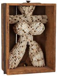 Al Hansen (1927-1995) Untitled (Photofloods, Spools) Cigarettes and mixed media in wooden drawer