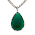 Estate Jewelry:Necklaces, Chrysoprase, Diamond, White Gold Pendant-Necklace. ...