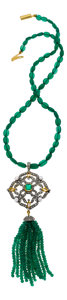 Estate Jewelry:Necklaces, Chrysoprase, Diamond, Cultured Pearl, Silver, Gold-Plated Necklace. ...
