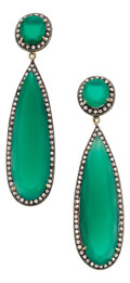 Estate Jewelry:Earrings, Chrysoprase, Diamond, Silver Earrings. ... (Total: 2 Items)