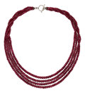 Estate Jewelry:Necklaces, Ruby, Silver, White Metal Necklace. ...