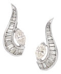 Estate Jewelry:Earrings, Diamond, Platinum, White Gold Earrings, circa 1950. ...