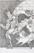 Original Comic Art:Splash Pages, Rol Enriquez - Batman and Foes Pin-Up Original Art (2005)....
