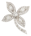 Estate Jewelry:Brooches - Pins, Diamond, White Gold Brooch. ...