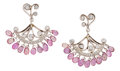 Estate Jewelry:Earrings, Pink Sapphire, Diamond, Platinum, White Gold Earrings, CathyCarmendy. ... (Total: 2 Items)